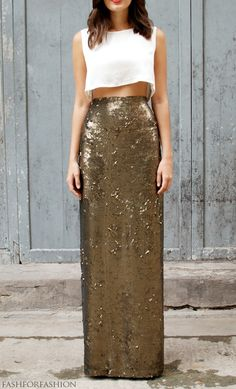 sequined maxi skirt with casual white crop tee - casual or evening?