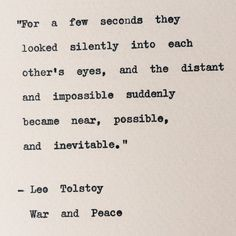 Love Quotes : QUOTATION – Image : Quotes Of the day – Description Leo Tolstoy/ War and Peace Typewriter Quote/ by BookishGifts Sharing is Caring – Don't forget to share this quote ! Book Quotes Love, Quotes To Live By, Best Quotes, Favorite Quotes, War And Peace Quotes, Literary Love Quotes, Classic Book Quotes, Romantic Book Quotes, Famous Book Quotes