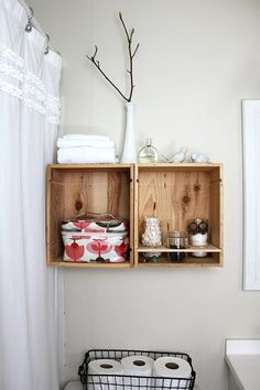 Two wine crates and tobacco sticks (or stakes) are all it takes to make these versatile wine crate shelves. Shabby Chic Bathroom Accessories, Diy Bathroom Decor, Diy Home Decor, Bathroom Storage, Bathroom Organization, Bathroom Shelves, Toilet Storage, Small Bathroom, Bathroom Ideas