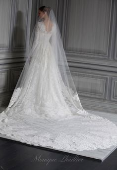 monique lhuillier - wedding dress - bridal - collection - spring 2012 - platinum collection - catherine - ivory re-embroidered and chantilly lace long sleeve bateau neck natural waist bodice with hand appliquéd a-line skirt