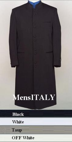 """SKU# HM45GA 10 Buttons Mandarin Collar 45"""" Long Jacket ITS ONE OF A KIND Come in 4 Colors $189 Fall Jackets, Long Jackets, Mandarin Collar Jacket, Tuxedo Pants, Suits For Sale, Find Color, Red Purple, Short Sleeve Dresses, Mens Fashion"""