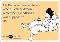 hilarious ecards -My bed is a magical place where I can suddenly remember everything I was suppose to do