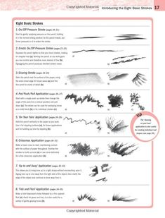 The Ultimate Drawing and Painting Technique Bible by Trudy Friend. 8 basic strokes for graphite or charcoal. Basic Drawing, Book Drawing, Drawing Tips, Painting & Drawing, Drawing Faces, Manga Drawing, Drawing Ideas, Charcoal Drawing Tutorial, Charcoal Sketch