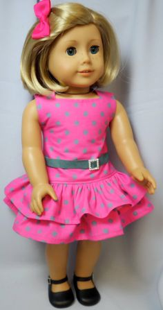 American Girl Doll Clothes Pink POlka Dot by buttonandbowboutique, $20.00