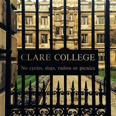 Gates to Clare College Cambridge Cambridge Street, Dream School, Cambridge University, You Better Work, Luxury Travel, Law Of Attraction, Gates, British, England