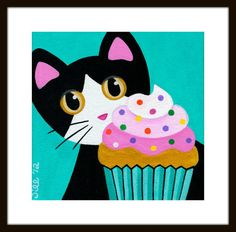 Tuxedo CAT and CUPCAKE with Pink Frosting & by thatsmycat on Etsy