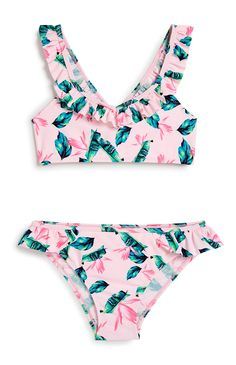 Older Girl Tropical Frill Bikini New Outfits, Girl Outfits, Girls Denim Dress, Mighty Girl, Frill Bikini, White Playsuit, Jumpsuits For Girls, Girls Swimming, Girls Leggings