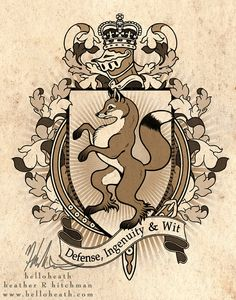 Fox Coat Of Arms Heraldry, Digital Art Print