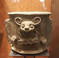 Images from the National Museum of Anthropology- bat brazier  Clay. This work has parallels with Zapotec works, with whom the inhabitants of Xochicalco had trading connections.