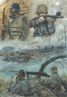 Danger lurks behind every corner in. THE TRENCH OF DEATH! this sketch really reminded me of the old war comics i used to read as a kid Trench Of Death! German Soldiers Ww2, German Army, Military Art, Military History, Ww1 Art, Military Drawings, Man Of War, War Comics, Diesel Punk