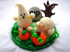 Halloween GHOST & Graveyard PARKER Polymer Clay Character - Limited Edition Figurine