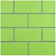Merola Tile Park Slope Subway Glossy Kiwi Green 3 In. X 6 In. Ceramic Wall  Tile (17 Sq. Ft. / Case), Kiwi Green/High Sheen