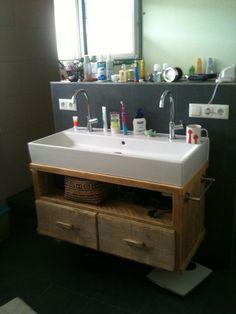 wasch tisch aus aufgearbeitetem bauholz konsole. Black Bedroom Furniture Sets. Home Design Ideas