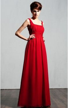 Fancy A-line Ankle-length Straps Red Chiffon Dress