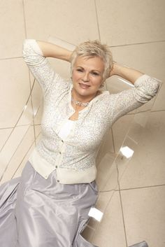 "She looks good! Love her style! ~ Love this outfit on her. its so feminine and lovely ~ Julie Walters: ""It seems that when you get to a certain age you almost give yourself permission to misbehave and say what you think. Beautiful Old Woman, Beautiful People, Julie Walters, 50 And Fabulous, Advanced Style, Ageless Beauty, Going Gray, Glamour, Style And Grace"