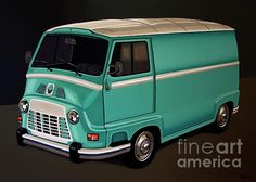 Realistic acrylic painting of the Renault Estafette, painted by the Dutch fine artist Paul Meijering - The Original painting is 120 x 90 cm and for sale