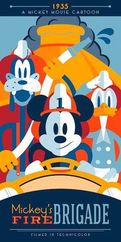 "Animated Disney short, ""Mickey's Fire Brigade"" Walt Disney Characters, Disney Movie Posters, Disney Films, Disney Cartoons, Disney Love, Disney Magic, Disney Mickey, Disney Minimalist, Modern Disney"