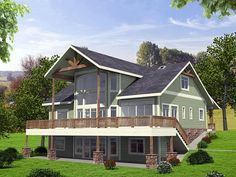 Contemporary Country Craftsman Elevation of Plan 85256