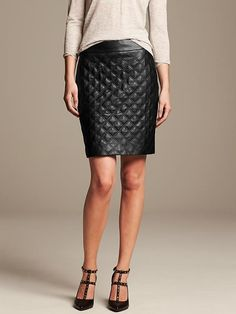 Quilted Faux-Leather Pencil Skirt Product Image