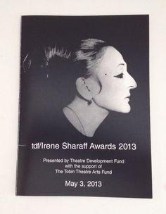 Irene Sharaff Awards 2013 Souvenir Program Costume Design Designer Booklet TDF