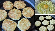 Zucchini Puffer, Fritters, Griddle Pan, Palak Paneer, Easy Dinner Recipes, Low Carb, Cooking Recipes, Dishes, Vegetables