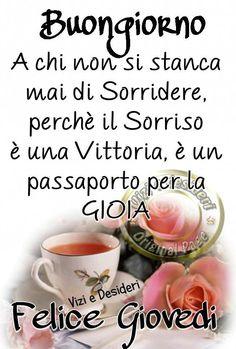 Italian Memes, Italian Phrases, Learning Italian, Good Morning Good Night, Tea Cups, Facebook, Anna, Italian Greetings, Emoticon