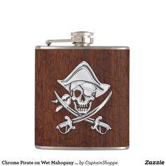 Chrome Pirate on Wet Mahogany Print Hip Flask