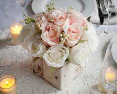 Hochzeit-Herzstück rustikale Blush und Elfenbein von KateSaidYes