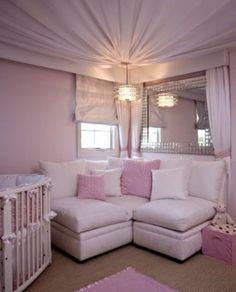 Luxury Pink Baby Girl Nursery Design Ideas - Home Design and Decor Ideas Fabric Ceiling, Ceiling Decor, Ceiling Ideas, Ceiling Draping, Wall Fabric, Nursery Room, Girl Nursery, Nursery Ideas, Kids Bedroom