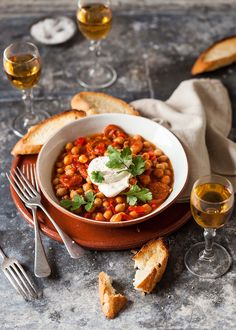 tapas of chickpeas and chorizo with sherry