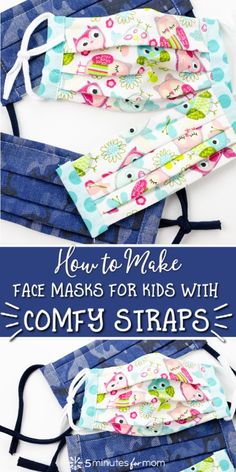 How to make the easiest face mask straps that are so comfortable. No elastic necessary… simply use old clothes. Watch a quick video tutorial and see step-by-step photos. - DIY Face Mask Ties - How to Make Comfy Face Mask Straps Face Masks For Kids, Easy Face Masks, Homemade Face Masks, Diy Face Mask, Sewing Hacks, Sewing Tutorials, Sewing Projects, Sewing Tips, Sewing Ideas