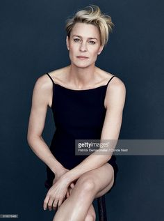 Actress Robin Wright is photographed for Vanity Fair Magazine in 2014 in New York City. Wright wears a black dress by Celine. PUBLISHED IMAGE.