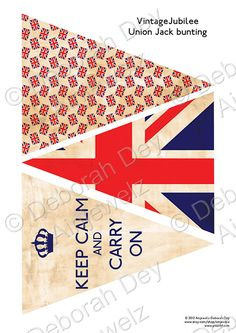 Instant Digital Download - Vintage Jubilee Union Jack Bunting Garland - Keep Calm and Carry On on Etsy, $6.91