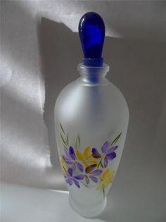 Authentic Italian Murano Art Glass Perfume Bottle Handpainted Signed New
