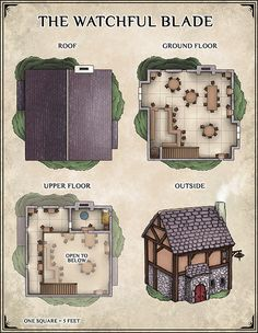 The Watchful Blade, a tavern in the Shrouded Encampment. Home to sellswords and day drinkers–watch your back. Pick up the Blade's high-res map from my website to use in your own campaign. Fantasy City, Fantasy House, Fantasy Map, Building Map, Building Layout, Base Building, Dungeons And Dragons Homebrew, D&d Dungeons And Dragons, Taverna Medieval