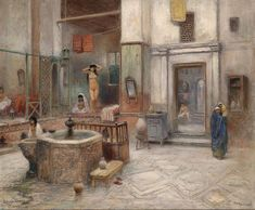 Frans Wilhelm Odelmark - Bath in Cairo Images D'art, Fantasy World Map, Bath Art, Academic Art, Ancient Egyptian Art, Old Paintings, Traditional Paintings, Andalusia, Erotic Art