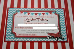Red Wagon Invitations DIY VERSION Vintage by justalittlesparkle