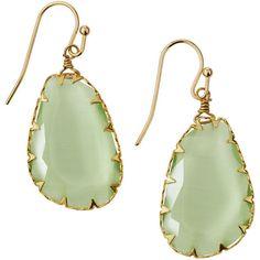 Panacea Organic Stone Drop Earrings featuring polyvore women's fashion jewelry earrings green stone jewellery green stone earrings green drop earrings bezel jewelry polished stone jewelry