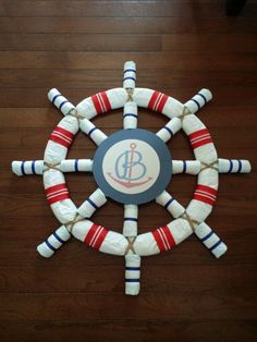 Nautical Theme baby shower or nursery Ship Wheel Diaper Cake INSTRUCTIONS. Not a physical item to purchase Baby Shower Diapers, Baby Shower Games, Baby Boy Shower, Baby Shower Parties, Sailor Baby Showers, Nautical Diaper Cakes, Nautical Baby, Nautical Theme Baby Shower, Boy Diaper Cakes