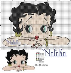 Billedresultat for broderie betty boop Betty Boop, Cross Stitch Charts, Cross Stitch Designs, Cross Stitch Patterns, Crochet Cross, Crochet Chart, Cross Stitching, Cross Stitch Embroidery, Embroidery Patterns