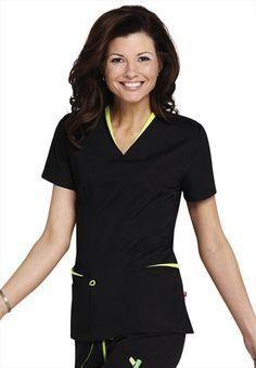 New for summer Urbane layered v-neck scrub top. Medical Uniforms, Work Uniforms, Casual Work Outfits, Work Attire, Dental Scrubs, Cute Scrubs, Scrubs Uniform, Black Scrubs, Dress For Success