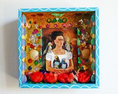 Wanddeko - Frida Kahlo Schrein Selbstporträt mit Papageien - ein Designerstück von casa-frida bei DaWanda