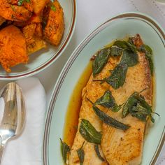 Tilapia with browned butter and sage.  Perfect for a super quick weeknight dinner, this tilapia recipe is ready in just 10 minutes.  Delicious and easy.  Served with baked Camembert, salad and Riesling for a special meal. -emf