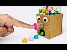 How to make GumBall Candy Dispenser Machine from C. - How to make GumBall Candy Dispenser Machine from C. Cardboard Box Crafts, Cardboard Toys, Paper Crafts, Cardboard Playhouse, Cardboard Furniture, Yarn Crafts, Candy Dispenser, Diy Gumball Machine, Diy Karton
