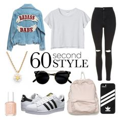 """""""No girl needs more than 60 seconds"""" by viola-scarlett-yt ❤ liked on Polyvore featuring Monki, Topshop, adidas Originals, adidas, Kate Spade, Essie, men's fashion, menswear, DRAKE and views"""