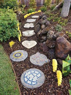 Ways to Create a Garden Path... Personalize your path....Add personal touches Handmade stepping-stones add beauty and color to your garden path. Mosaic patterns may be more slippery than rough stone, though, especially when wet.