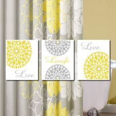 Yellow Grey Gray Modern Floral Flower by LovelyFaceDesigns on Etsy, $25.00