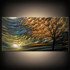 abstract metallic copper bronze tree painting by mattsart on Etsy, $375.00