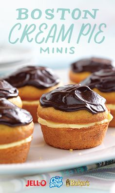 There's nothing mini about the taste of these Boston Cream Pie Minis. They are bite-sized perfection. All you need is JELL-O, COOL WHIP, and BAKER'S chocolate and they're easy as pie (minis) to make. ;)