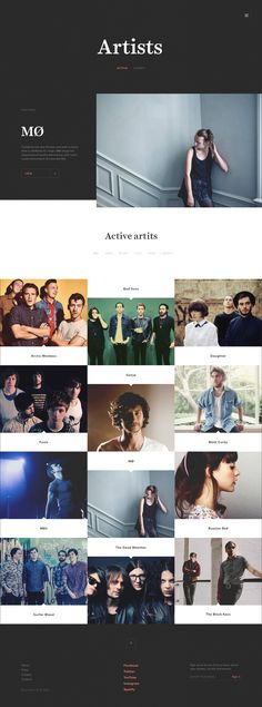 Artists #website #ui #grid